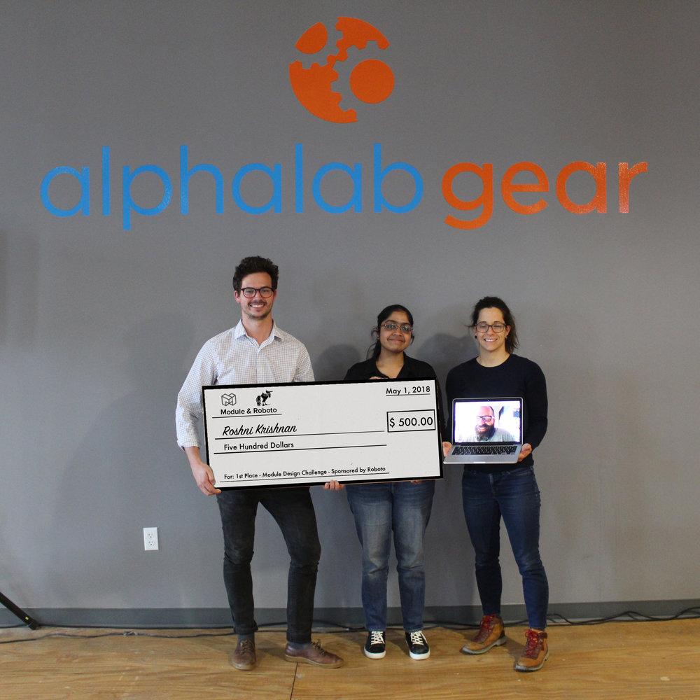 Roshni Krishnan, MSSD '18 (center) won the first annual Module Design Challenge competition.