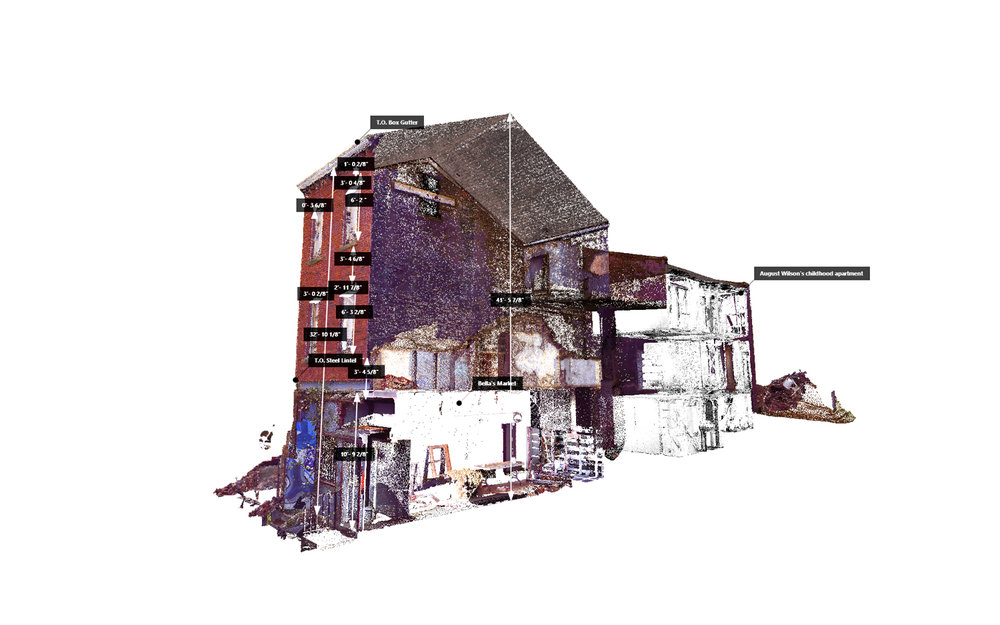 "Perspective view of a sectional cut through the 3D point cloud data collected from the aerial and terrestrial LiDAR scans of the August Wilson House. With approximately 1/4"" accuracy, the point cloud model was used for off-site dimensioning as well as storytelling through annotative information directly on the data."