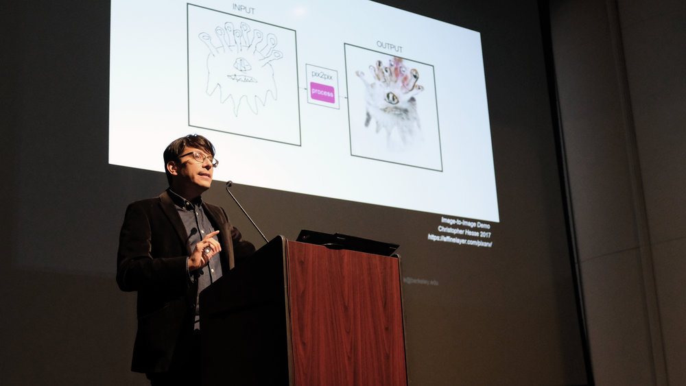 Kyle Steinfeld discusses the future of machine learning in Kresge Theater on Monday, 9 April 2018. Photo by Christina Brown.