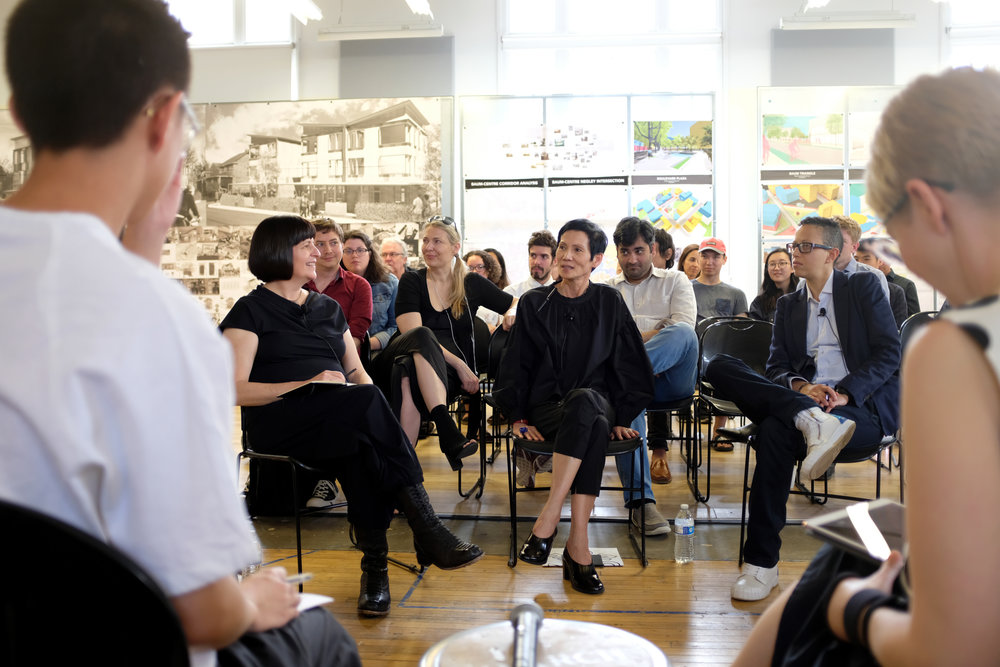 Amy Kulper, Ming Fung, and Mitch McEwen share reflections on the exhibition with students, faculty, and guests at a roundtable discussion moderated by Molly Wright Steenson and Adam Kor in the College of Fine Arts on Saturday, 5 May 2018. Photo by Christina Brown.