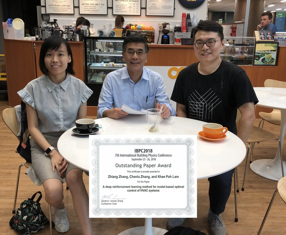 PhD candidates Chenlu Zhang (left) and Zhiang Zhang (right) and Professor  Khee Poh Lam  (center),  received an Outstanding Paper Award at the 7th International Building Physics Conference (IBPC).