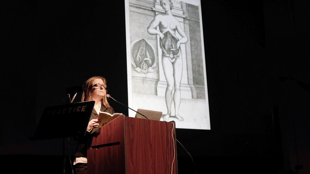 Beatriz Colomina, Professor of Architecture and Founding Director of the Media and Modernity program at Princeton University, shared her research on the connections between modern architecture and human health with students, faculty, and guests at Kresge Theatre on Monday, 29 October 2018. Photo by Christina Brown.