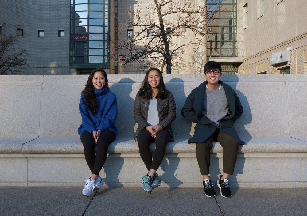 Emily deGrandpre, BA '19 (center) co-developed the Amica app with School of Design class of 2018 alumni Tina Park (left) and Joseph (Ji Tae) Kim (right).