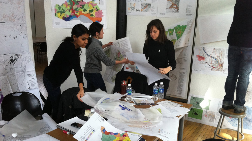 19_MUD_EXP14_Rambha Seth, Mingming Wu and Ozge Diler participating in a charrette on Pittsburgh's airport_2011.jpg