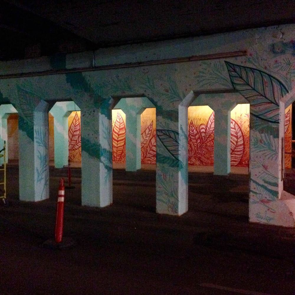 Progress from the downtown mural, located under the overpass at Reno and EK Gaylord