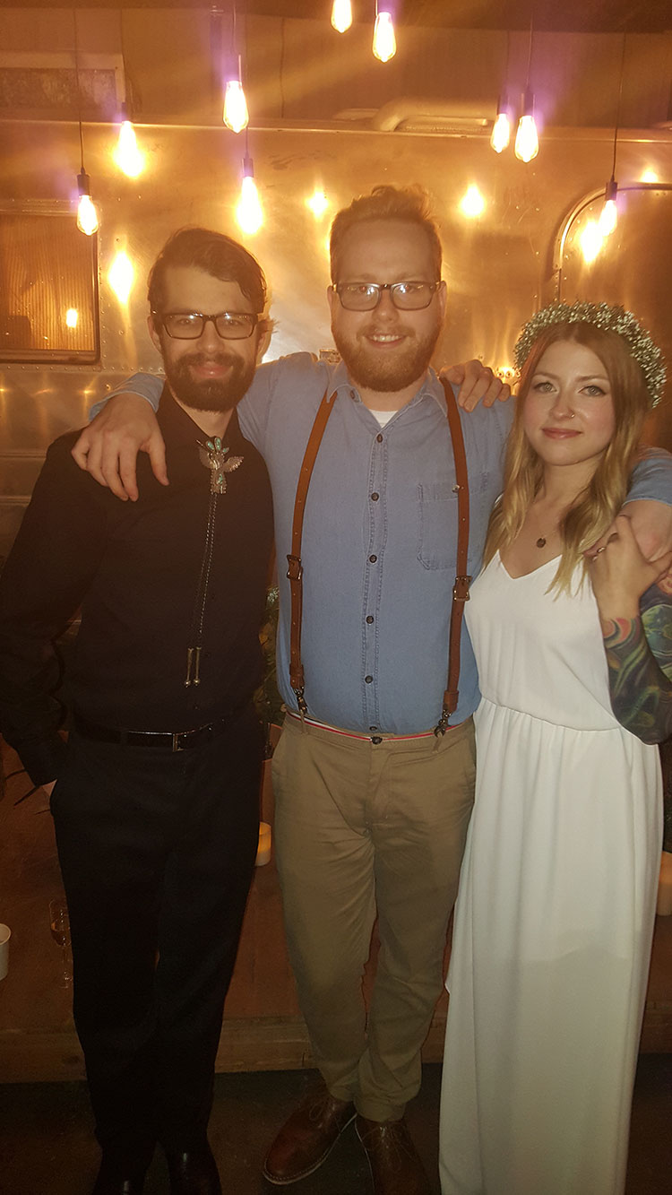 """""""With the happy couple.""""   Congratulations, folks!!"""