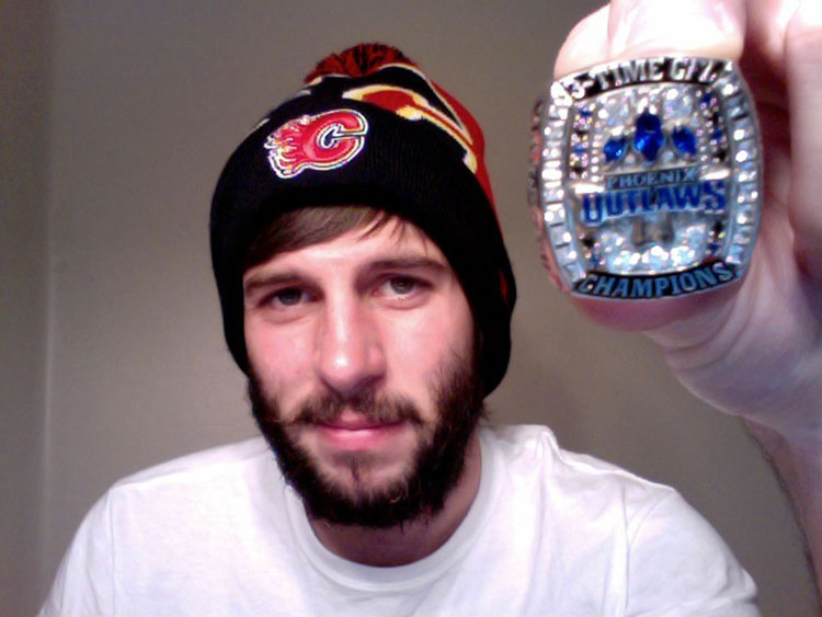 """""""Team got our championship rings last night! We finished the season ranked #7 in the country, and beat the California state champs in our bowl game. Oh, this is for semi-pro football, by the way. Not Mashed Potato Eating or something like that...although.........""""   Congrats, dude! Freakin' Outlaws!"""