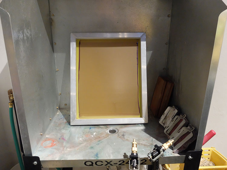 Done! We place the screen in our washout booth (a glorified mop sink).