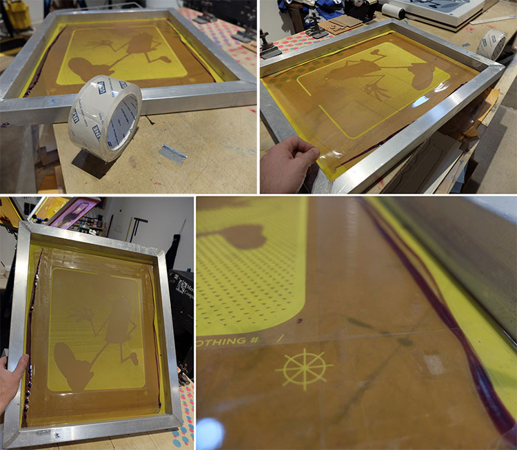 Once the screens have thoroughly dried, we want to block out any areas and edges that ink might be able to escape. I use basic packing tape. This might not be completely screenprinting Kosher, but it's affordable, and works well for my applications. I also tape my screens up almost all the way to the image. I've found that this makes the cleaning process so much easier. It's difficult to see in the images, but the tape covers the screen and the edges of the metal on the screen's rim.