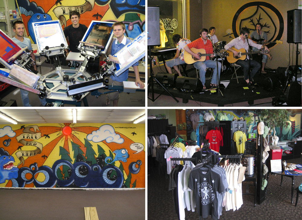 Our first storefront location was at 8405 N. Rockwell Ave. in the back of Rockwell Plaza. We opened it on a shoestring budget in 2007. I painted my first mural in the back (it was horrible). We built canvases for local artists to paint; Erin Robinson, Kaleb Nimz, Caleb Jacks, Emma Robertson, and Jake Sloan. We had a grand opening party with performances by The Legend of Junior Sapp, Sherree Chamberlain, and Josh Roberts. It's fun to think that two of the members of The Legend of Junior Sapp (Joey Morris and Roger Eleftherakis) would go on to be our neighbors in the Plaza as co-owners of The Mule.  In our first store we also carried clothing by PS Clothing, Bombs Away, GRP FLY, Blooprint, and Dead Cities. All the clothing vendors were local, and we also began selling Montana spray paint around this time.  Kaleb Nimz was the first employee we had in this space. He was really essential in influencing my art style, and the overall direction of the shop. His emphasis on typography, graffiti, and design really influenced my print work.