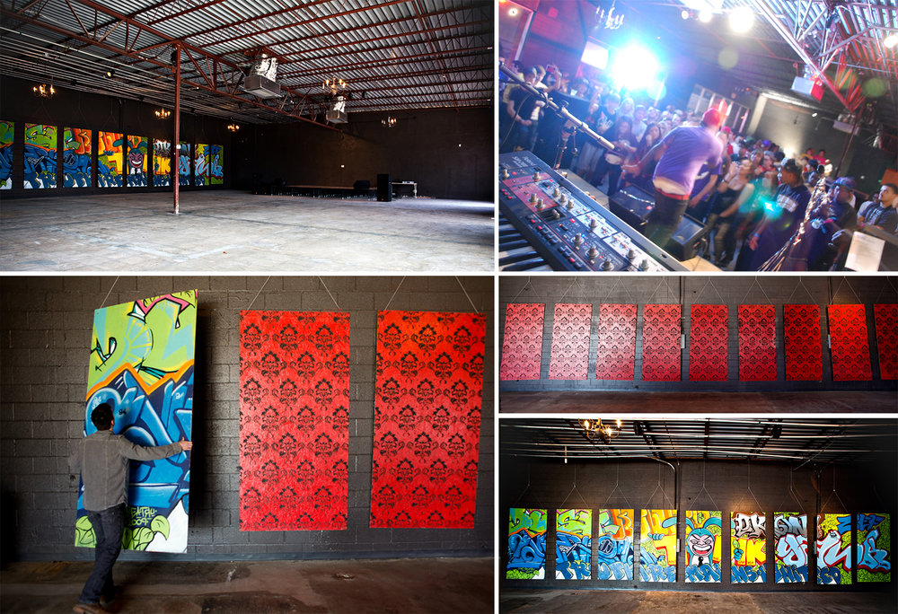Around 2010, we decided to rent and renovate one of the larger spaces next to us. In what now seems over ambitious, we made a good effort at running a music venue called The Arbor. We hosted some really great shows in that venue, and one of my favorite art shows ever called Rollin' Deep. We met a lot of cool people through the venue, but struggled to keep it booked. In 2011, a elderly woman accidentally drove her car through the wall and through our stage. We took it as an omen to close the venue! After repairing the damages, we decided to move our store and printshop into the space.