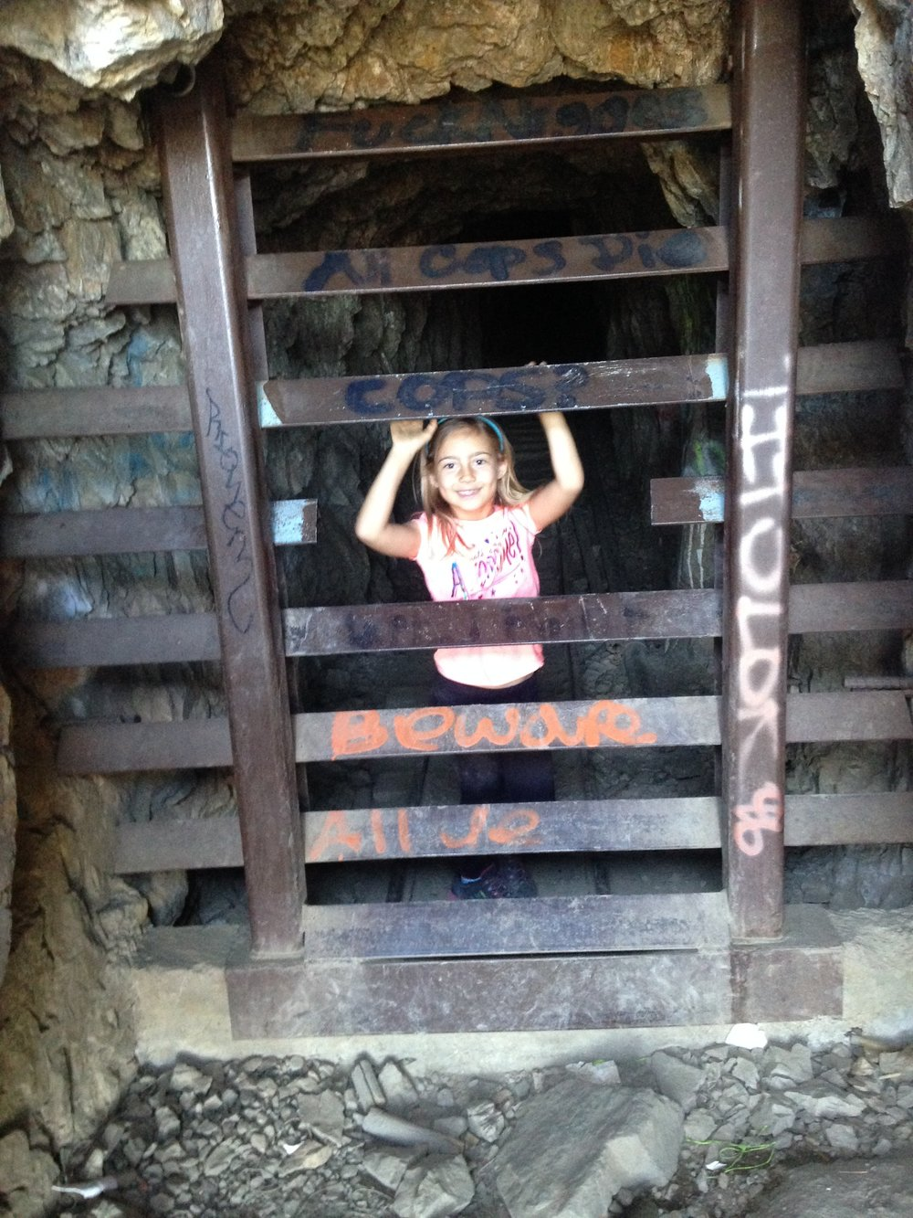 After 2 and a half miles of hiking we finally made it up to the mine! Ella was really the only one that could easily get inside, but a few minutes after I took this photo, a group of friends emerged from the mine saying they went back about 500-1000 feet before it started to split off into several other tunnels.