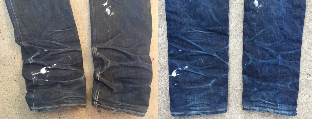 I wear a pair of construction boots almost everyday. They hold up the bottom of the jeans and create some interesting creases. Every once and a while I accidentally brush agains a can of plastisol ink that's sitting on the floor in my shop.