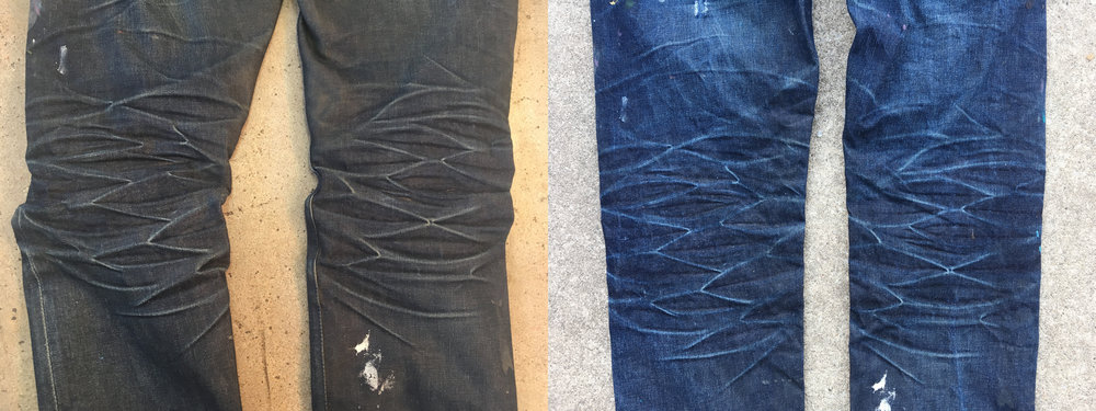 This is the back of the knee where a lot of scrunching and creasing happens. The indigo in the jeans is slowly worn off as they wear. After the first wash, all those lines get cleaned to a light blue, almost white.