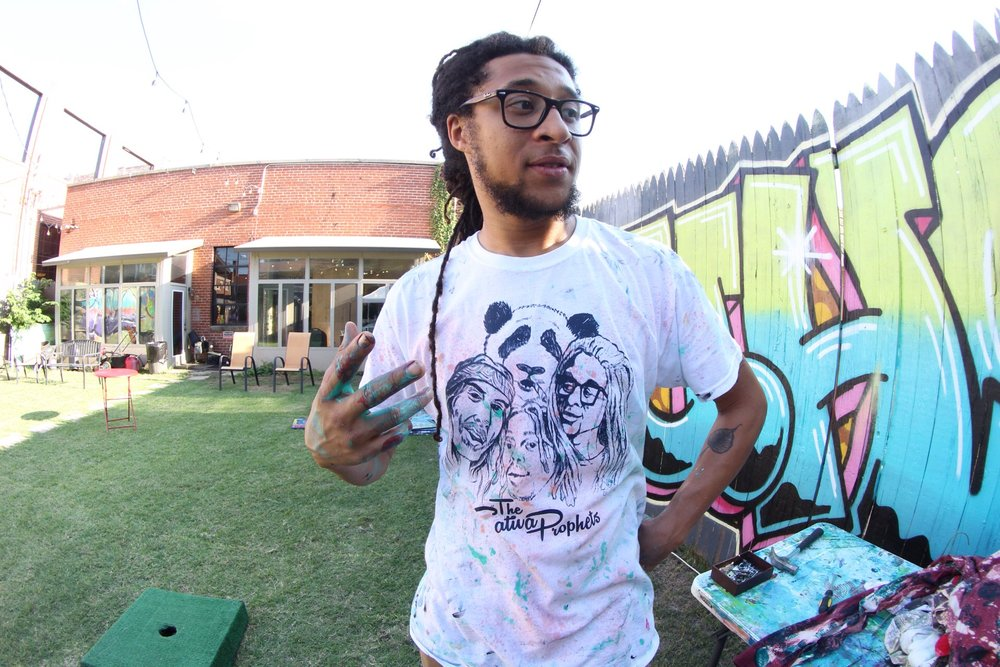 HuckWheat of the Sativa Prophets arrived fashionably early rocking one of the new SP shirts we designed.