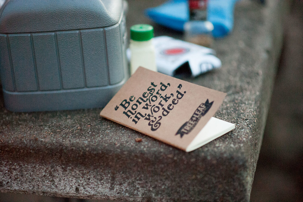 "You never know when creativity might strike you. Jot down those notes and sketch those ideas, even when at the campsite. This motto is one that we apply to daily living, ""Be honest in word, work, and deed."""