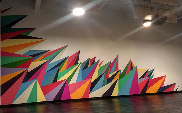I installed some additional triangles to the 405 Yoga in Midtown. Merideth is a great client and I'm always stoked to work with them. This really added a ton of energy to the room, it's amazing how much some color can change the emotion in an area.