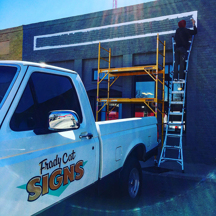 Helped my buddy,  Tanner Frady,  install some lettering for  Oil & Clay Studio  in Norman. Very classic sign gig. It's always great to paint with Tanner. He's a great friend, and one of the only persons in the world that can tolerate hours of me singing along to KOMA.