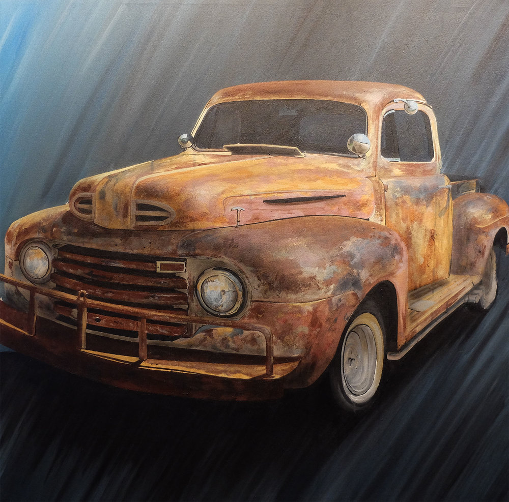 1949 Ford A2 Pickup, Acrylic & Aerosol on Canvas, 36x36