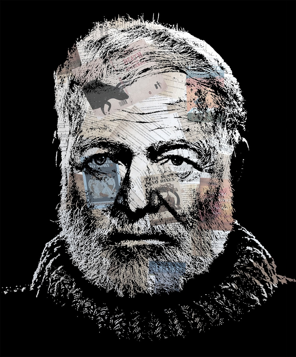 Hemingway - Canvas Print with Resin (2012)