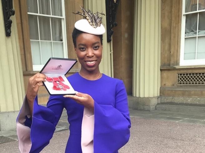 Ade Hassan receiving her MBE