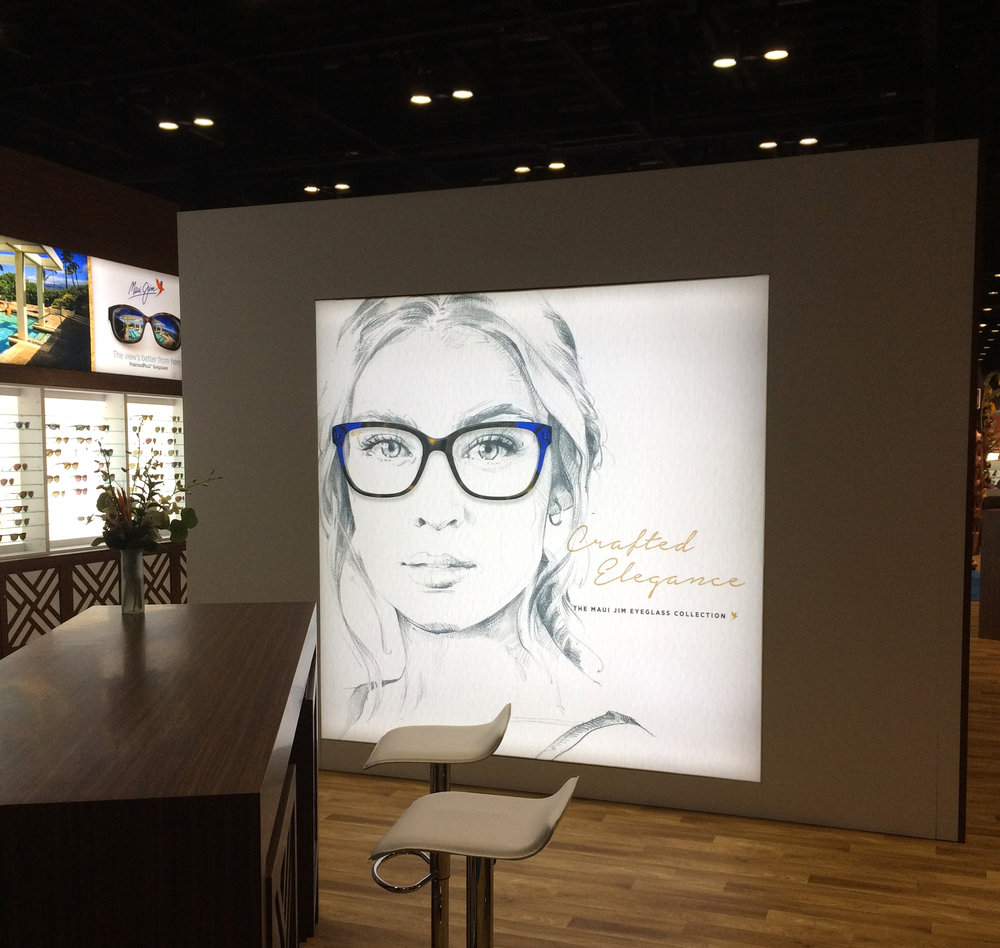Maui Jims featured large backlit art with their colorful frames with subtle pencil drawn illustrations