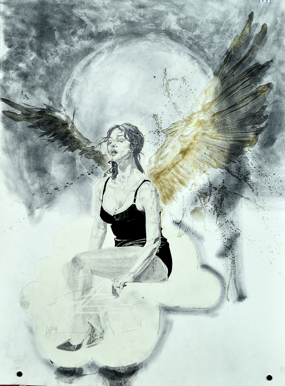 "Icarus, graphite, conte crayon and encausitc wax on paper, 22""x30"", 2016"