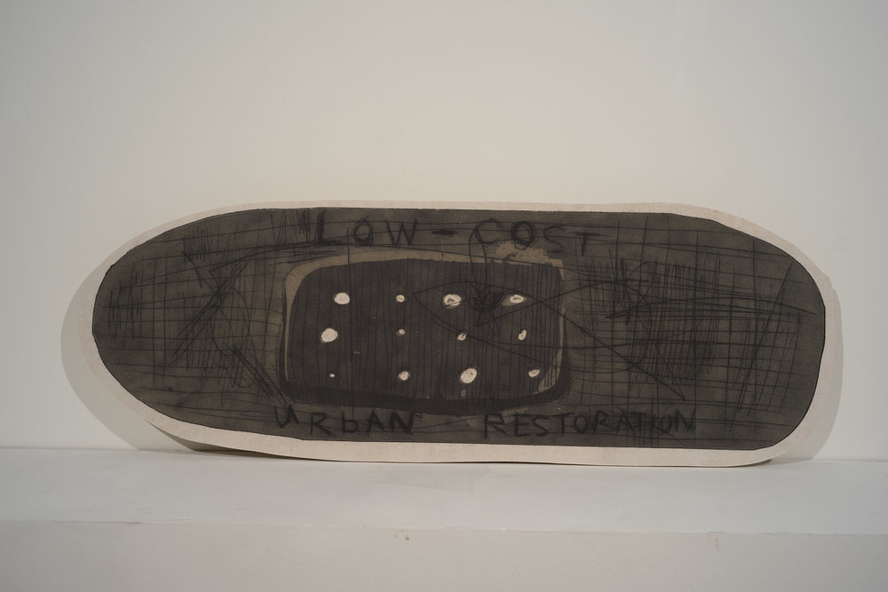 "spokanedaid, drypoint on shaped plexiglass printed to mulberry and mounted to plywood, 12""x 30"""