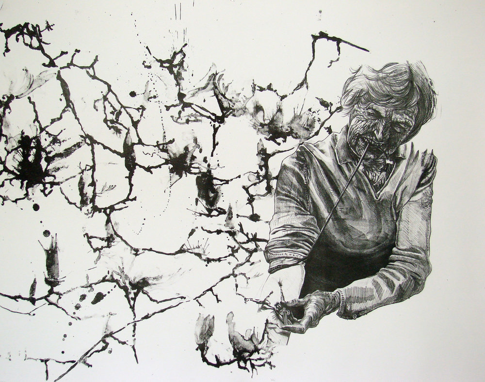 "nothing like an old junkie 2, lithograph with tusche, 30""x40"""