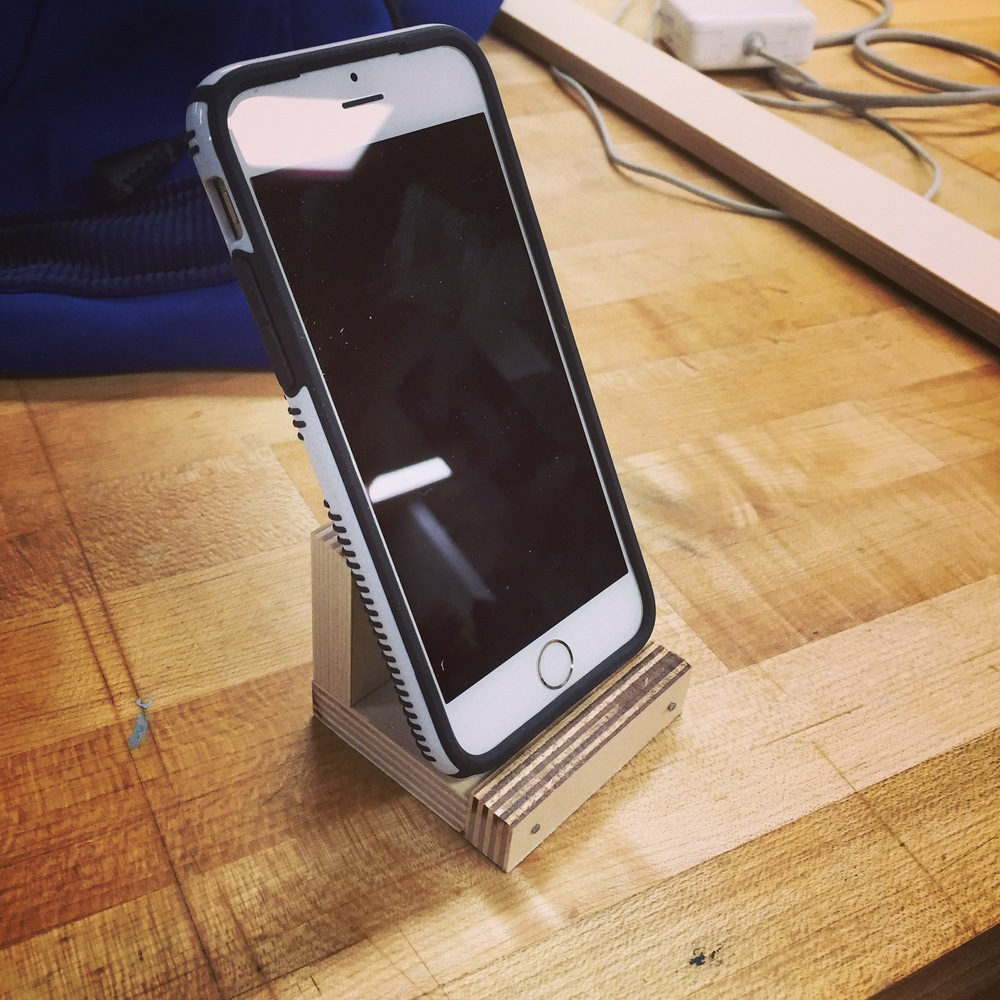 Week 1: A minimalistic iPhone dock made out of furniture-grade plywood. The clean lines were inspired by the work of Donald Judd.
