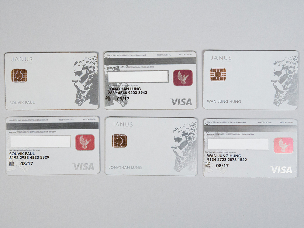 These cards were crafted out of aluminum, and coated with vinyl. The fabrication of these cards was completed by Jonathan Lung.
