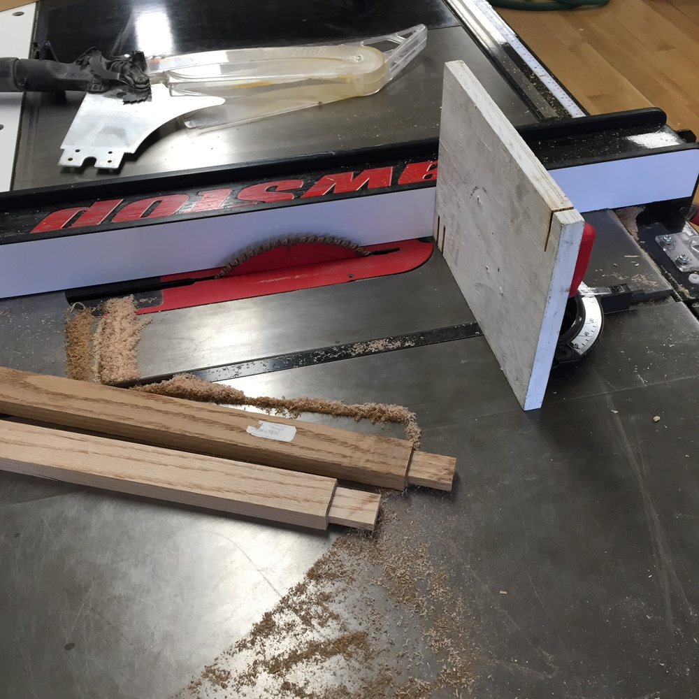 Week 4: Process shot. For this project, I had to learn how to use a table router, and how to assemble a jig for accurate cutting on the table saw [pictured here].