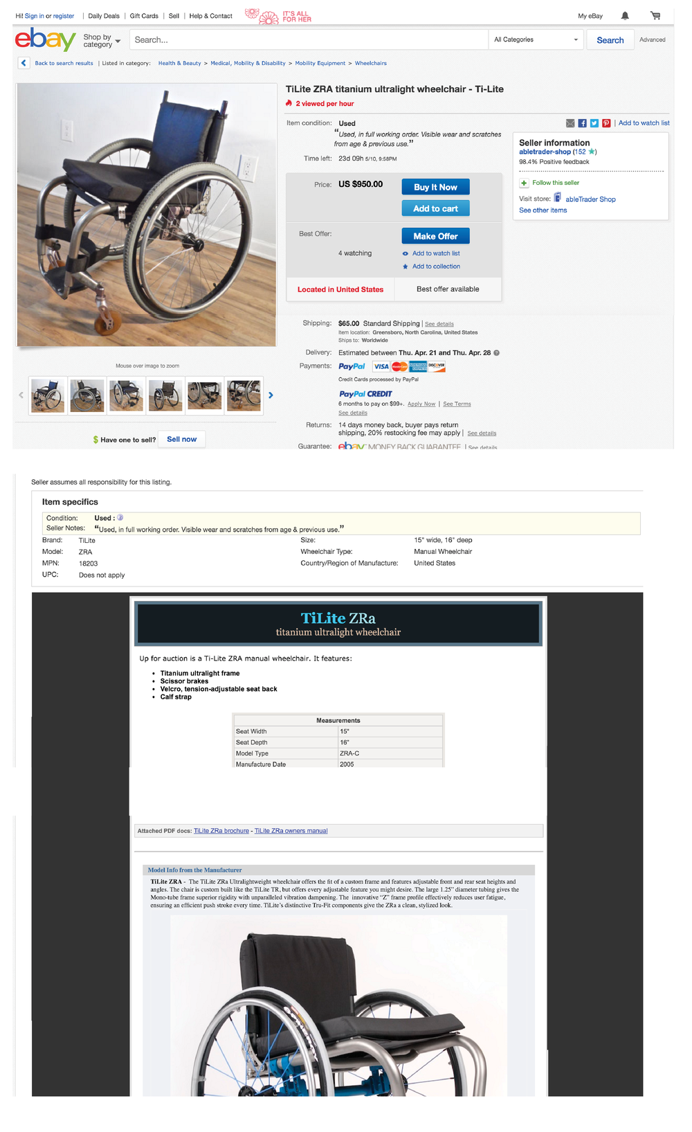 An example of how wheelchairs are typically sold on eBay, with only two axes of measurement for the wheelchair fit.