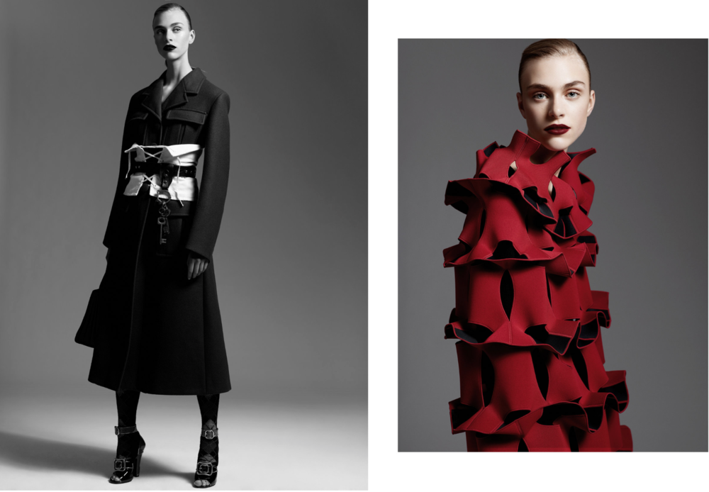 Hedvig is wearing: On the left:   Everything PRADA  On the right:  JUNYA WATANABE dress .