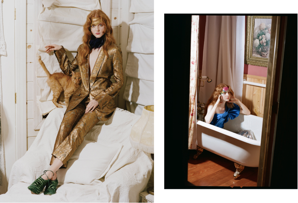 Madison Stubbington is wearing: On the left: Everything Dries Van Noten On the right: YSL top, Chloe sequins pants.