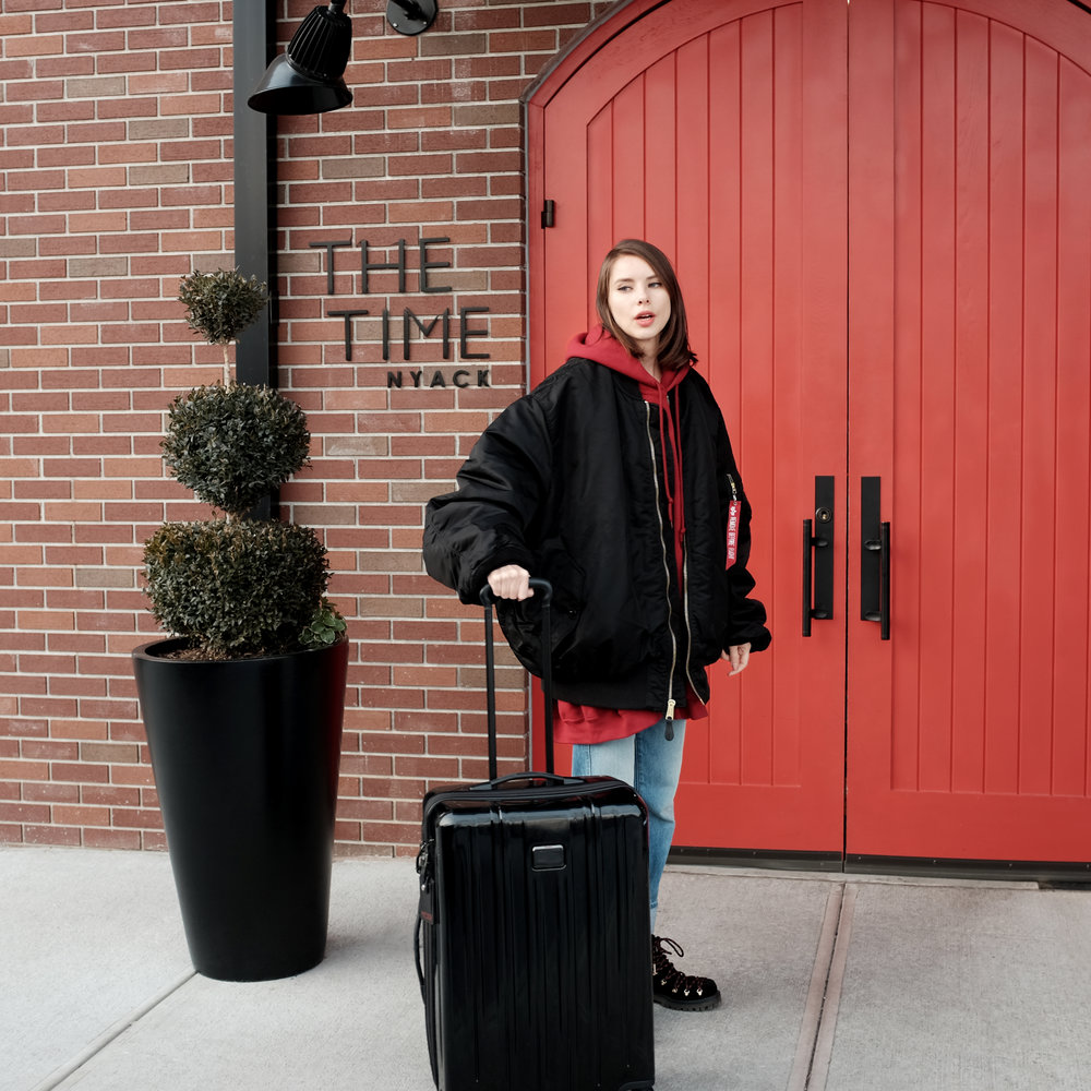 Arrived! A much needed getaway for a few days, courtesy of  The Time Nyack .   I'm wearing: Vetements Hoodie and Jacket,  Rigid Re-Release Le High Straight , Circus By Sam Edelman Boots,  TUMI V3 .