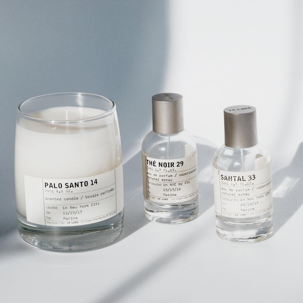 Fragrance Essentials: 1. LE LABO PALO SANTO 14 Candle 2. LE LABO THÉ NOIR 29 PARFUM 3. LE LABO SANTAL 33 PARFUM