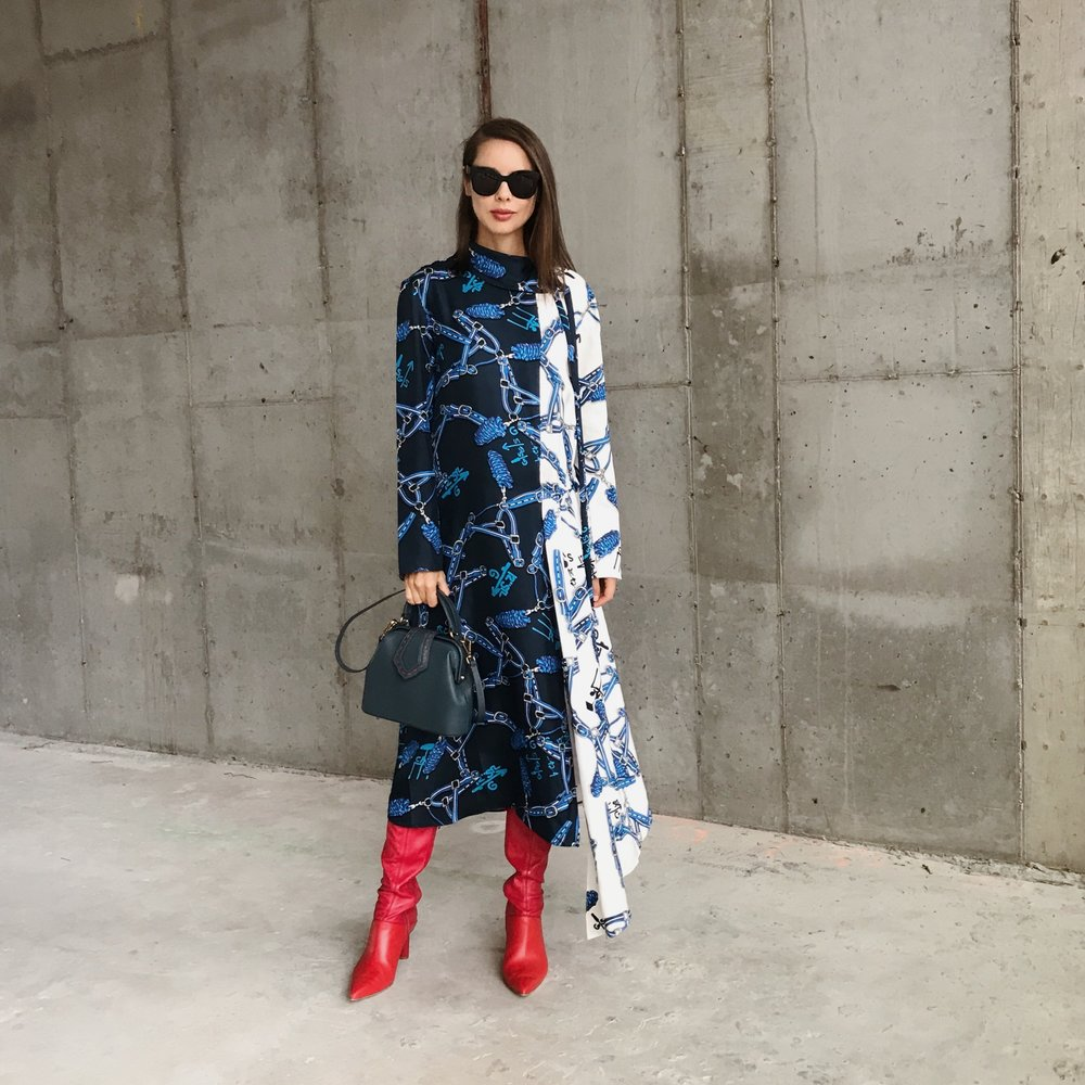 I'm wearing:   Tibi Dress  and  Boots , Mehrymu Bag, Celine Sunglasses.