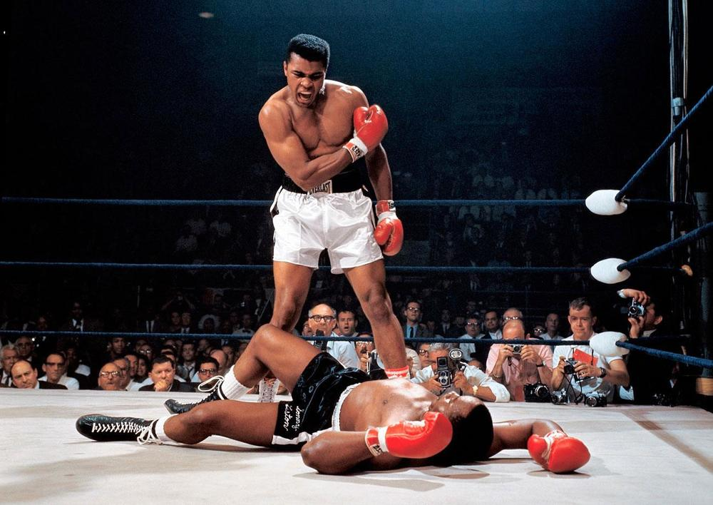 Muhammad Ali in 1965 after knocking out Sonny Liston. Photograph by Neil Leifer.