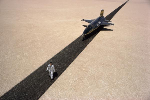 Test pilot Bill Dana with an X-15 jet,1968.