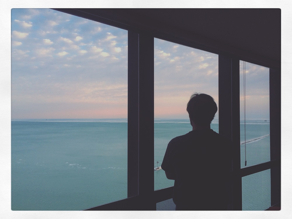 Matt takes in the view of the lake in Chicago