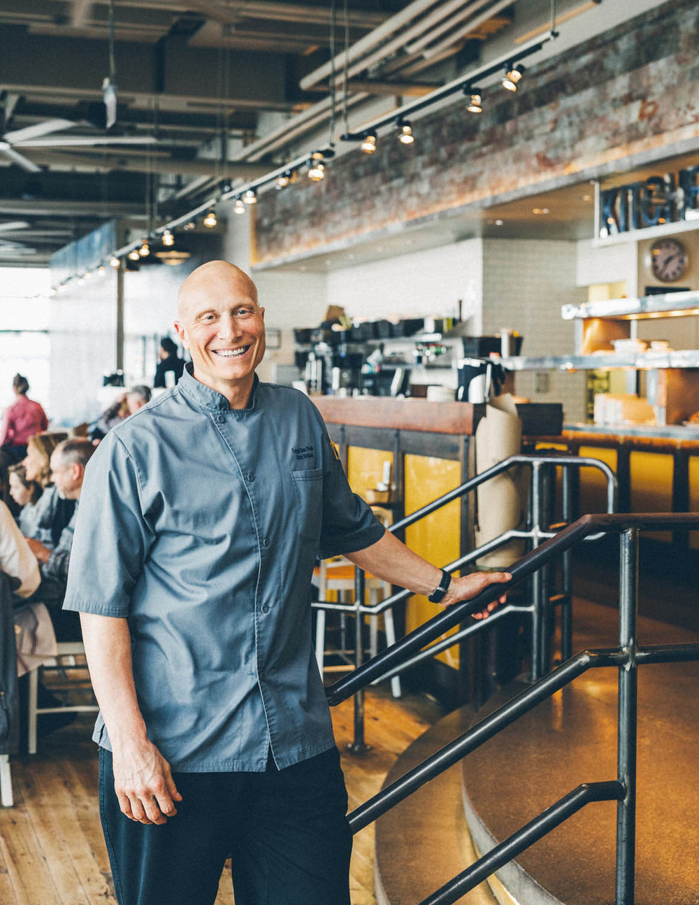 Chef Richard Vellante in the dining room at Legal Seafoods Boston.