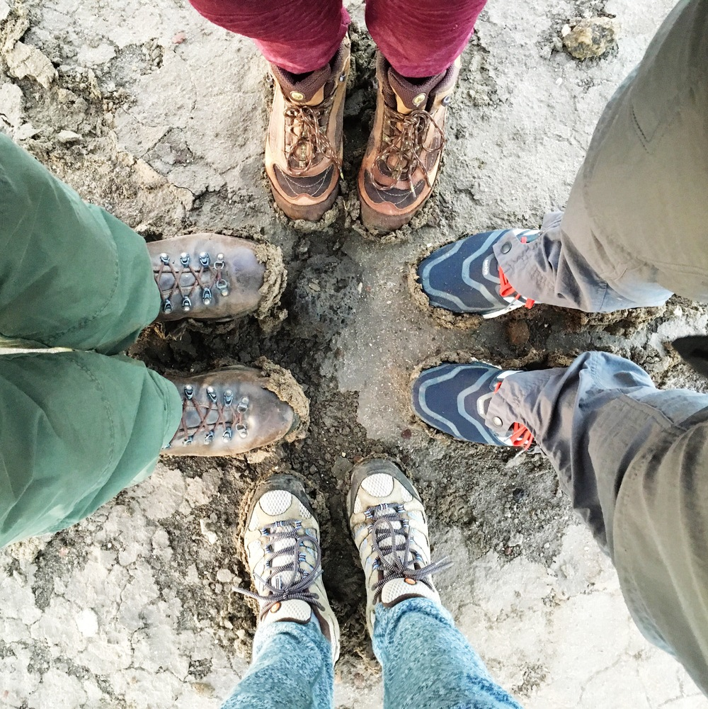 Our muddy hiking boots