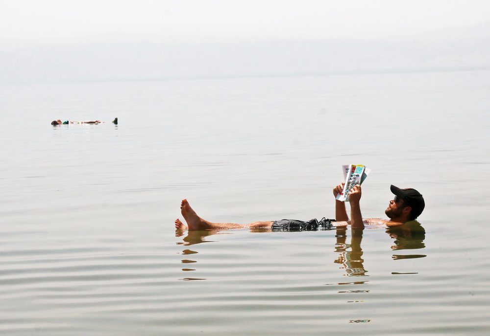 Floating in the buoyant Dead Sea
