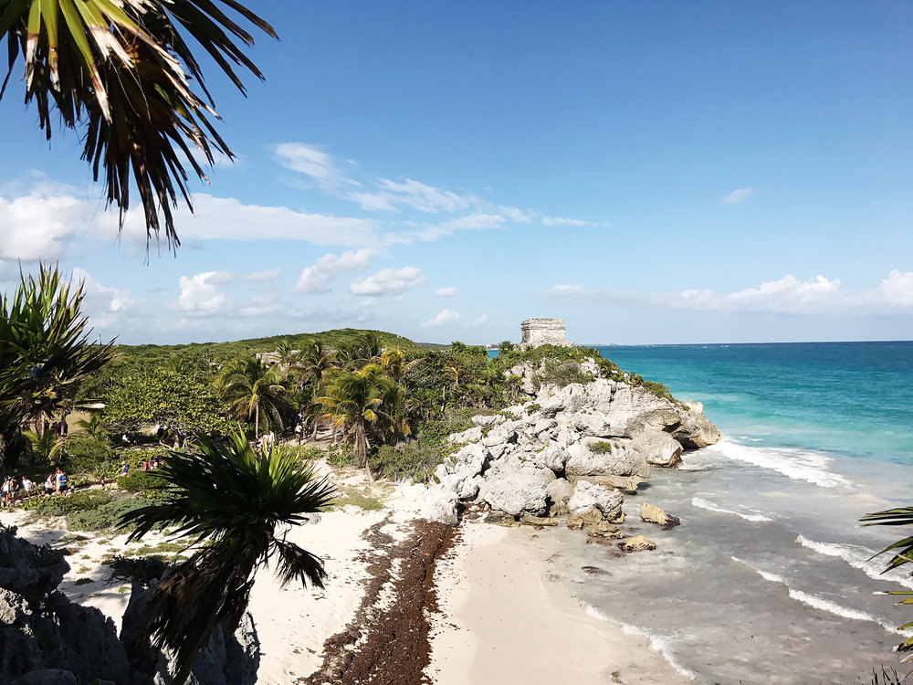 Temples lie on the cliff's of Tulum overlooking the Carribean Sea.