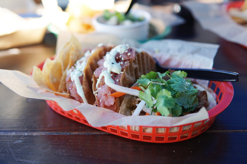 Get the poke taco at East Beach Tacos, you won't be sorry.