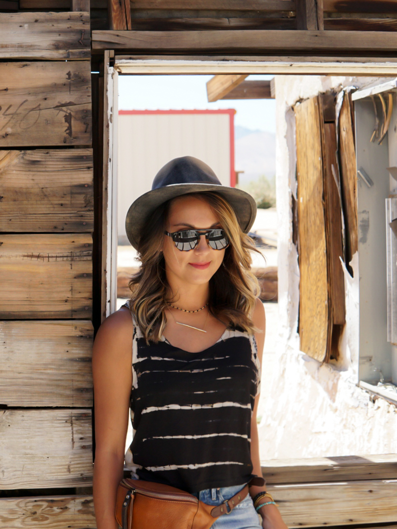 Wearing Bailey Hats,Sunski, and Will Leather Goods