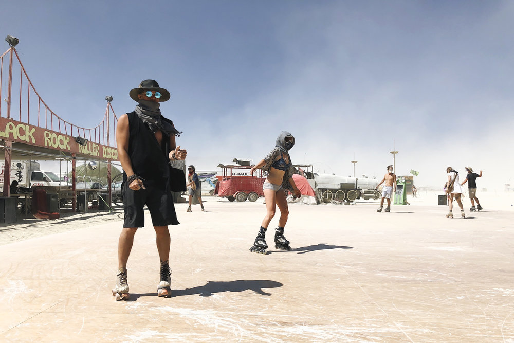 Roller skating on the Playa