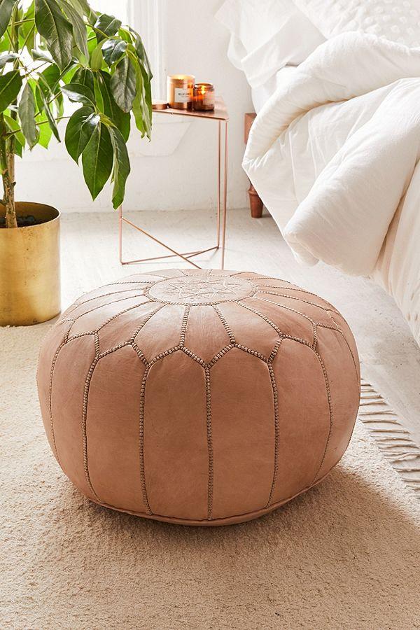 Leather Floor Pouf, $299