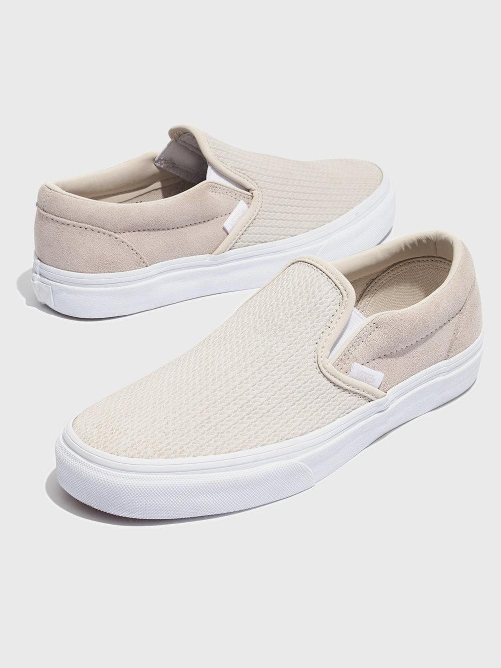 Vans® Unisex Classic Slip-On Sneakers in Moonbeam Suede, $60